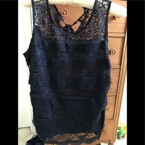 Ann Taylor deep navy layered lace sleeveless top.